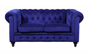 DIVANO ROMA FURNITURE Classic Scroll Arm Navy Blue Chesterfield