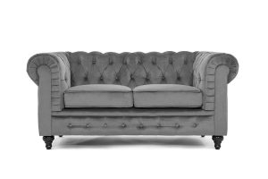 DIVANO ROMA FURNITURE Modern Classic Scroll Arm Grey Velvet Loveseat Sofa