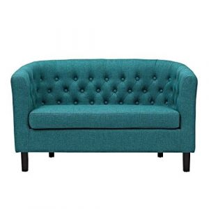 Hawthorne Collections Upholstered Fabric Loveseat in Teal