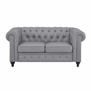 Naomi Home Emery Chesterfield Love Seat Gray