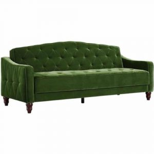 Novogratz Vintage Tufted Sofa Green Velour Sleeper II