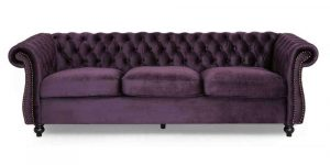 Somerville Chesterfield BlackBerry Tufted Sofa from Noble House