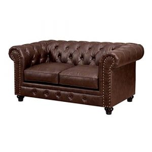 Villa Tufted Brown Leather Loveseat from Furniture of America