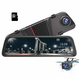 AWESAFE Mirror 170 Degrees Wide Angle Dash Cam with 10 inches
