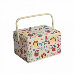 Hobby Gift Owl Sewing Box on Natural-Large