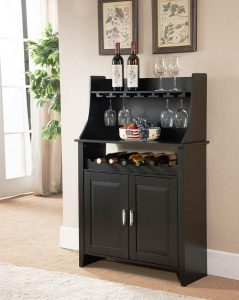 Kings Brand Furniture Wine Rack Buffet and Storage Cabinet, Black