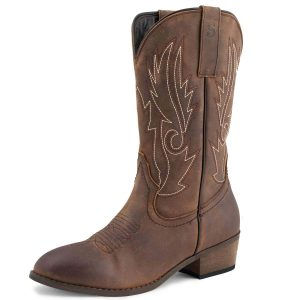 SheSole Women's Full-Grain Leather Cowboy Boots