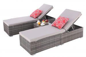Do4U 3 Pcs Outdoor Chaise Lounge
