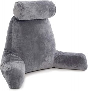 Husband Pillow Big Backrest Dark Grey Reading Pillow with Arms
