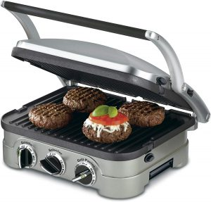 Cuisinart 5-in-1 Griddler, GR-4N, Silver with Silver/Black Dials