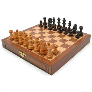 Inlaid Walnut-Style Wood Chess Set