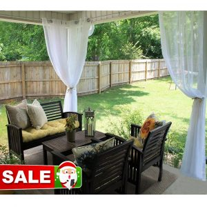 RYB HOME Outdoor Sheer Curtain for Patio