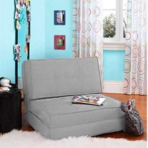 Your Zone Bed Flip Chair Lounger Sofa Convertible Dorm Bed (Gray)