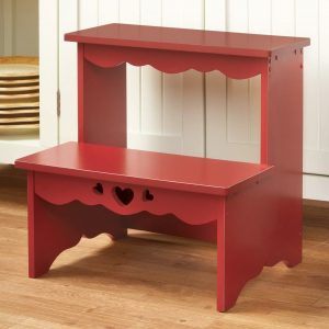Collections Red Wooden Step Stool