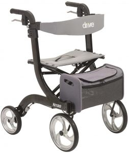 Drive Medical Nitro Euro Black Rollator Walker with Backrest