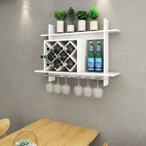 Giantex Wine Rack with a Glass Holder (White)