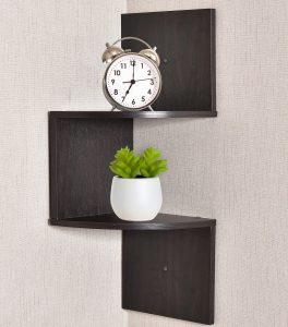 Greenco Zigzag 2 Tier Corner Floating Shelves