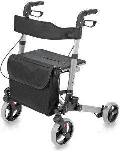 Health Smart Rollator Walker with Seat and Backrest