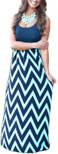 Womens Empire Waist Maxi Dresses Chevron Summer