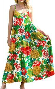 YESNO Women Casual Loose Bohemian Floral Print Dresses